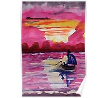Pink sunset #2, watercolor Poster