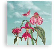 Raspberry Pink Flowers with Turquoise Sky Metal Print
