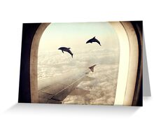 Monday Dream - Flying with My Dolphin Friends Greeting Card