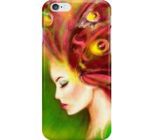 Fantasy Portrait beautiful woman green summer spring butterfly iPhone Case/Skin