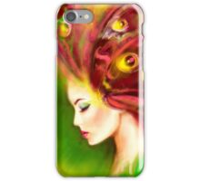 Fantasy Portrait beautiful woman green summer spring butterfly iPhone Case/Skin
