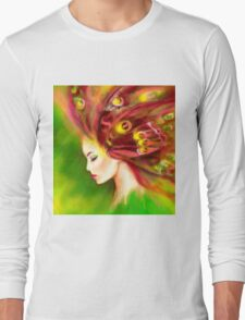 Fantasy Portrait beautiful woman green summer spring butterfly T-Shirt