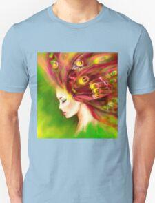 Fantasy Portrait beautiful woman green summer spring butterfly T-Shirt