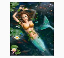 Beautiful Fantasy mermaid in water, in lake with lilies.  Unisex T-Shirt