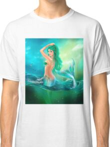 mermaid fantasy at ocean on waves Classic T-Shirt