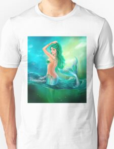 mermaid fantasy at ocean on waves Unisex T-Shirt