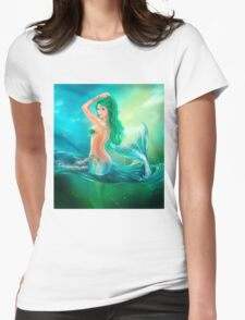 mermaid fantasy at ocean on waves Womens Fitted T-Shirt
