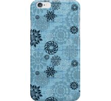 Pastel Blue Abstract Retro Flowers Design iPhone Case/Skin