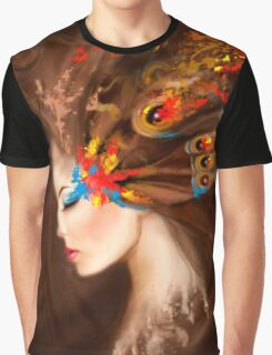 Fantasy Portrait beautiful woman butterfly Graphic T-Shirt
