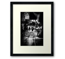 Old Lady walking on the train track Framed Print
