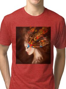 Fantasy Portrait beautiful woman butterfly Tri-blend T-Shirt