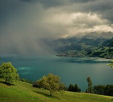 Arising storm over lake lucerne by mamate