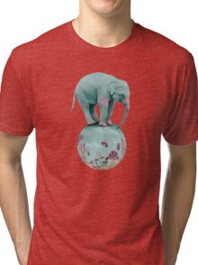 Mauve flowers on turquoise sky background Tri-blend T-Shirt