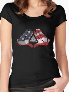 American Illuminati Hands Diamond Women's Fitted Scoop T-Shirt