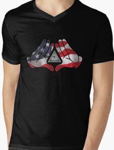 American Illuminati Hands Diamond Mens V-Neck T-Shirt