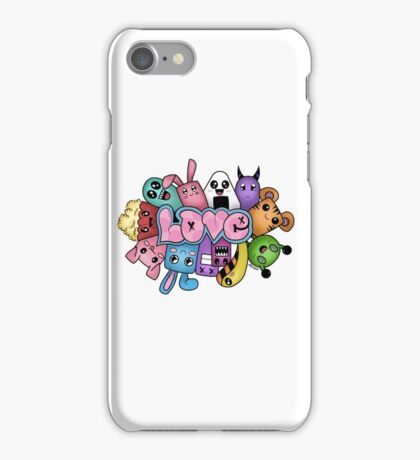 Doodle love - Colors /White Background iPhone Case/Skin