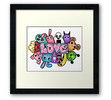 Doodle love - Colors /White Background Framed Print