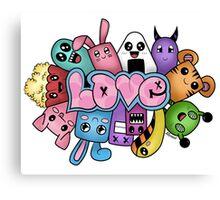Doodle love - Colors /White Background Canvas Print