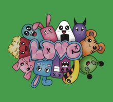 Doodle love - Colors /White Background One Piece - Short Sleeve