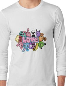 Doodle love - Colors /White Background Long Sleeve T-Shirt