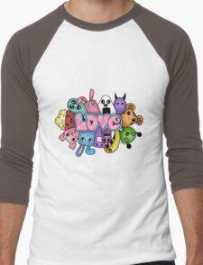 Doodle love - Colors /White Background Men's Baseball ¾ T-Shirt