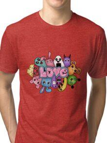 Doodle love - Colors /White Background Tri-blend T-Shirt