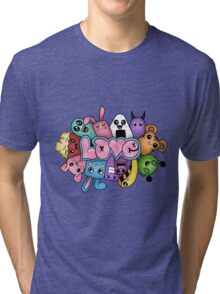 Doodle love - Colors /White Background Tri-blend T-Shirt