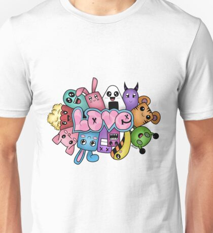 Doodle love - Colors /White Background Unisex T-Shirt