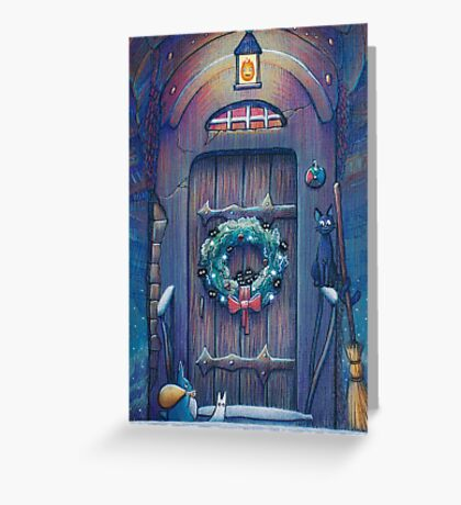 Ghibli Christmas in Howl's Moving Castle Greeting Card