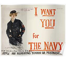 I want you for the Navy Apply any recruiting station or postmaster 002 Poster