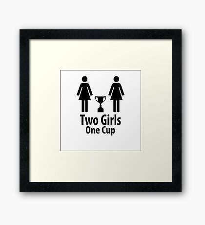 Two Girls One Cup - Parody Framed Print