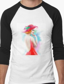 beautiful woman in red hat and a dress Men's Baseball ¾ T-Shirt