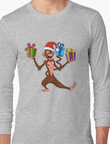 funny monkey with gifts. Long Sleeve T-Shirt