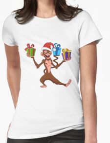 funny monkey with gifts. Womens Fitted T-Shirt