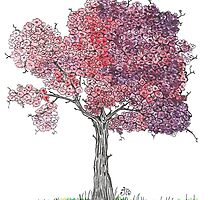 Watercolor Blooming Tree by Ibubblesart