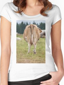grazing cows on the mountain Women's Fitted Scoop T-Shirt
