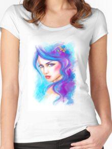 woman fantasy beautiful portrait  Women's Fitted Scoop T-Shirt