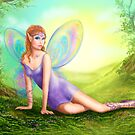 Fantasy fairy butterfly sits on grass in wood. by Alena Lazareva