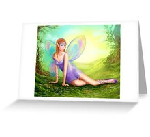 Fantasy fairy butterfly sits on grass in wood. Greeting Card