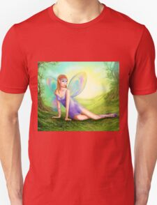 Fantasy fairy butterfly sits on grass in wood. T-Shirt