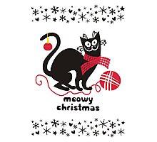 Funny derpy cat scarf yarn knitting crochet Christmas card Photographic Print