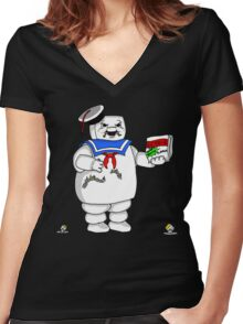 Stay Puff Marshmallow Man Women's Fitted V-Neck T-Shirt