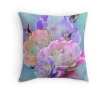 Pastel And Pink Tones Roses Photo Manipulation Throw Pillow