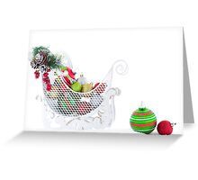 Christmas Sled Filled with Ornaments Greeting Card