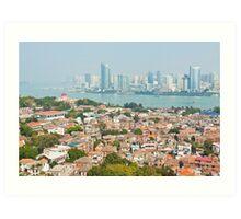 Xiamen view from Gulangyu Island, China.  Art Print
