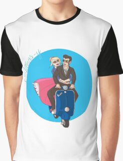 Rose and The Doctor Riding a Vespa Graphic T-Shirt