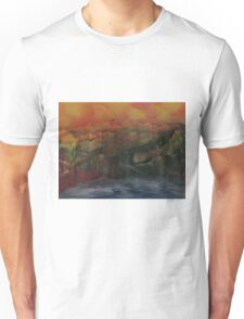 Orange sunset over the mountains Unisex T-Shirt