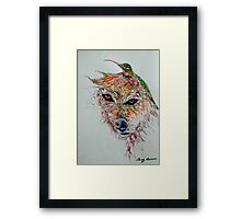 Wolf and Hummingbird Framed Print