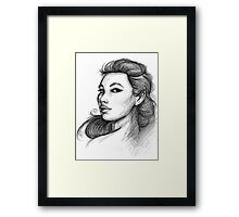Beautiful Woman Artist Pencil Sketch 1 Framed Print
