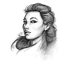 Beautiful Woman Artist Pencil Sketch 1 Photographic Print